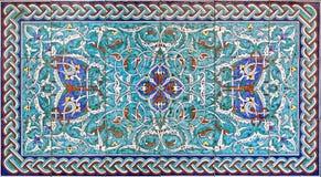 Jerusalem - den belade med tegel garneringen i entré av domkyrkan för St James Armenian från slut av 19 cent Arkivfoton