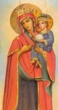 Jerusalem - den Madonna målningen på trät i gravvalv för ortodox kyrka av den jungfruliga Maryen Arkivbilder