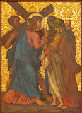 Jerusalem - der Jesus trifft die Frauen von Jerusalem-Farbe vom Ende von 19 cent in der armenischen Kirche unserer Dame Of The Sp Lizenzfreie Stockbilder
