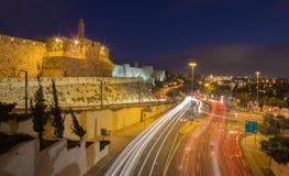 Jerusalem - der Turm von David und Westteil von den alten Stadtmauern Stockfoto
