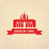 Jerusalem. Detailed silhouette. Trendy stylish colorful landmarks. The concept for a web banner. Dome of the Rock, Islamic shrine - The symbol of Israelis Royalty Free Stock Photo