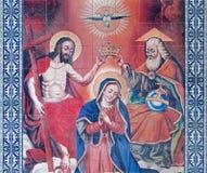 Jerusalem - die mit Ziegeln gedeckte Krönung von Jungfrau Maria im Vestibül von Kathedrale St. James Armenian Lizenzfreies Stockbild