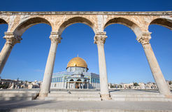 Jerusalem - The Dom of Rock on the Temple Mount in the Old City. Stock Photos