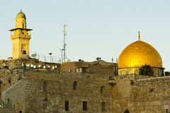 Jerusalem Dome of the Rock. A shot of the Old City in Jerusalem with the Dome of the Rock overlooking Stock Image