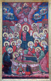 Jerusalem - The Dormition of Virgin Mary icon in shop window near the Citadell by unknown artist Stock Photography