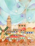 Jerusalem With Doves. Watercolor illustration of old Jerusalem with flying doves in a stylized sky vector illustration