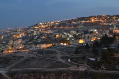 Jerusalem at dusk, night view of city hillside, Israel stock photos