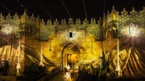 Jerusalem festival av ljus - Damascus port Fotografering för Bildbyråer