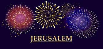 Jerusalem festival Fireworks. Jerusalem, fireworks Holiday card. Vector Illustration. Jerusalem - inscription, lettering. Gold text on night firework background Royalty Free Stock Photo