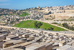 Jerusalem - framtidsutsikt från Mount of Olives till den stadsdirestionDromition abben royaltyfri fotografi
