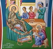 Jerusalem - The fresco of Nativity of st. John the Baptist scene in Greek orthodox Church of st. John the Baptist. JERUSALEM, ISRAEL - MARCH 5 , 2015: The fresco Royalty Free Stock Image