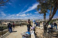 Jerusalem gammal stad från Mount of Olives Royaltyfri Foto