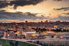 Jerusalem gammal stadshorisont Arkivbilder