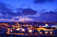 Jerusalem gammal stadshorisont Arkivfoto