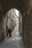 Jerusalem gata i den gamla staden Arkivfoto