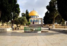 Jerusalem Golden Dome Mosque. Garden of the Golden Dome Mosque (Jerusalem, Israel Royalty Free Stock Image