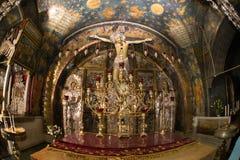 Jerusalem.Golgotha.Jesus sulla traversa. Fotografie Stock Libere da Diritti