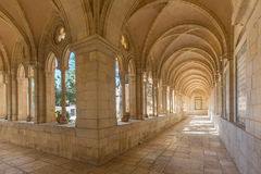 Jerusalem - The gothic corridor of atrium in Church of the Pater Noster on Mount of Olives. JERUSALEM, ISRAEL - MARCH 3, 2015: The gothic corridor of atrium in stock photography