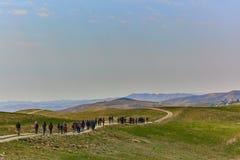 Jerusalem - 10.04.2017: Group of people trekking in the mountais near Jerusalem stock photos