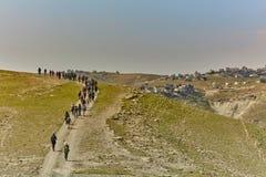 Jerusalem - 10 04 2017: Grupp människor som trekking i mountaisna Royaltyfria Bilder