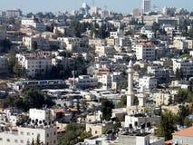 Jerusalem-Häuser und Minarett auf dem Abhang 2010 Lizenzfreie Stockfotografie