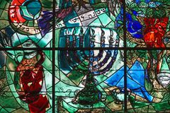 Chagall stained glass window. JERUSALEM - Hadassah Hospital`s synagogue is decorated with Chagall`s colorful stained glass windows depicting the tribes of Israel Royalty Free Stock Photography