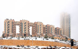 Jerusalem housing complex Holilend during a snowfall. Modern housing complex. Built in southern Jerusalem on a hilltop above the ascending Malcha quarter, at an Royalty Free Stock Image
