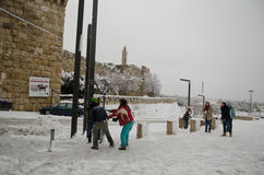 Jerusalem i vinter under snowfall Royaltyfria Foton