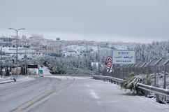 Jerusalem i vinter under snowfall Royaltyfri Foto