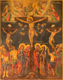 Jerusalem - The icon of Crucifixion in Church of Holy Sepulchre by unknown artist. Royalty Free Stock Photos