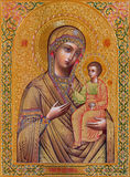 Jerusalem - The icon of Madonna in Russian orthodox Church of Holy Mary of Magdalene Royalty Free Stock Images