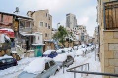 Jerusalem im Schnee Stockbild