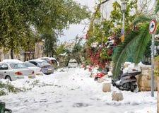 Jerusalem im Schnee Stockfoto