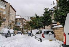 Jerusalem im Schnee Stockfotos