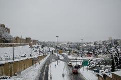 Jerusalem im Winter während der Schneefälle Stockbilder