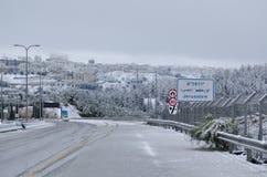 Jerusalem im Winter während der Schneefälle Lizenzfreies Stockfoto