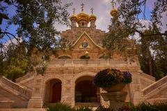 JERUSALEM, ISRAEL - April 15, 2017: Church of Mary Magdalene on the Mount of Olives. stock photo