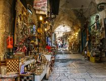 JERUSALEM, ISRAEL - April 2, 2018: east market in old Jerusalem with variety of middle east products and souvenirs. JERUSALEM, ISRAEL - April 2, 2018: east stock image