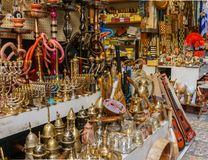 JERUSALEM, ISRAEL - April 2, 2018: east market in old Jerusalem with variety of middle east products and souvenirs. JERUSALEM, ISRAEL - April 2, 2018: east royalty free stock photo