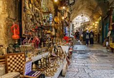 JERUSALEM, ISRAEL - April 2, 2018: east market in old Jerusalem with variety of middle east products and souvenirs. JERUSALEM, ISRAEL - April 2, 2018: east stock photos