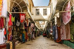 JERUSALEM, ISRAEL - April 2, 2018: east market in old Jerusalem with variety of middle east products and souvenirs. JERUSALEM, ISRAEL - April 2, 2018: east stock photography