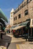 JERUSALEM, ISRAEL - April 2, 2018: east market in old Jerusalem with variety of middle east products and souvenirs. JERUSALEM, ISRAEL - April 2, 2018: east royalty free stock image