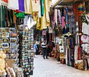 JERUSALEM, ISRAEL - April 2, 2018: east market in old Jerusalem with variety of middle east products and souvenirs. JERUSALEM, ISRAEL - April 2, 2018: east royalty free stock images