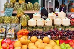 JERUSALEM, ISRAEL - APRIL 2017: Fresh Exotic Fruits on the Eastern Market Stall in Israely Market Mahane Yehuda, Jerusalem royalty free stock photos