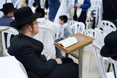 JERUSALEM, ISRAEL - APRIL 2017: Jewish hasidic pray a the Weste. Rn Wall, Wailing Wall the Place of Weeping is an ancient limestone wall in the Old City of royalty free stock images