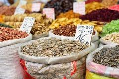 JERUSALEM, ISRAEL - APRIL 2017 Large sacks of spices and seeds, stock image
