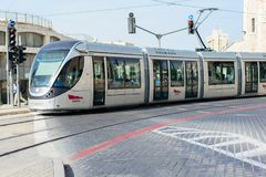 JERUSALEM, ISRAEL - APRIL 2017: The Jerusalem Light Rail is a l. Ight rail system in Jerusalem. Currently the Red Line is the only one in operation, the first of royalty free stock images