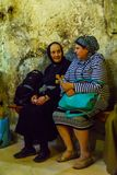 Orthodox good Friday 2018 in Jerusalem. Jerusalem, Israel - April 6, 2018: Orthodox good Friday scene in the church of the holy sepulcher, with pilgrims. The old Royalty Free Stock Images