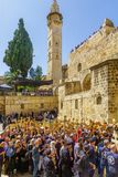 Orthodox good Friday 2018 in Jerusalem. Jerusalem, Israel - April 6, 2018: Orthodox good Friday scene in the entry yard of the church of the holy sepulcher, with Stock Photos