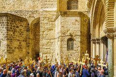 Orthodox good Friday 2018 in Jerusalem. Jerusalem, Israel - April 6, 2018: Orthodox good Friday scene in the entry yard of the church of the holy sepulcher, with Royalty Free Stock Photography